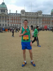 Jamie at the London Marathon after a 2hrs 53min